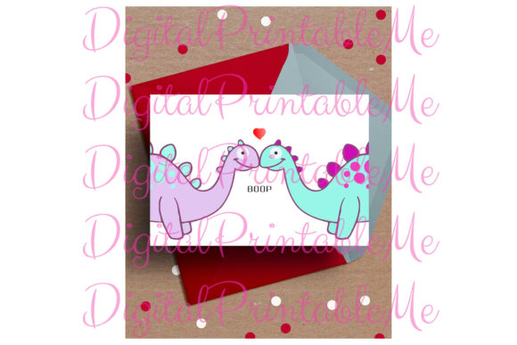 Dinosaur Valentine's Day Card Love Boop Graphic By DigitalPrintableMe