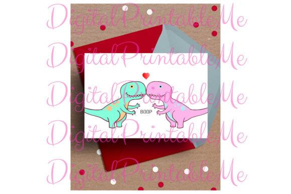 Dinosaur Valentine's Day Card Love Dino Graphic By DigitalPrintableMe