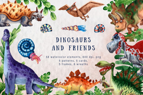 Dinosaurs and Friends - Watercolor Set Graphic Illustrations By mashamashastu