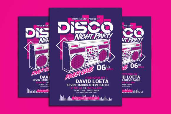 Disco Night Party Graphic Print Templates By muhamadiqbalhidayat
