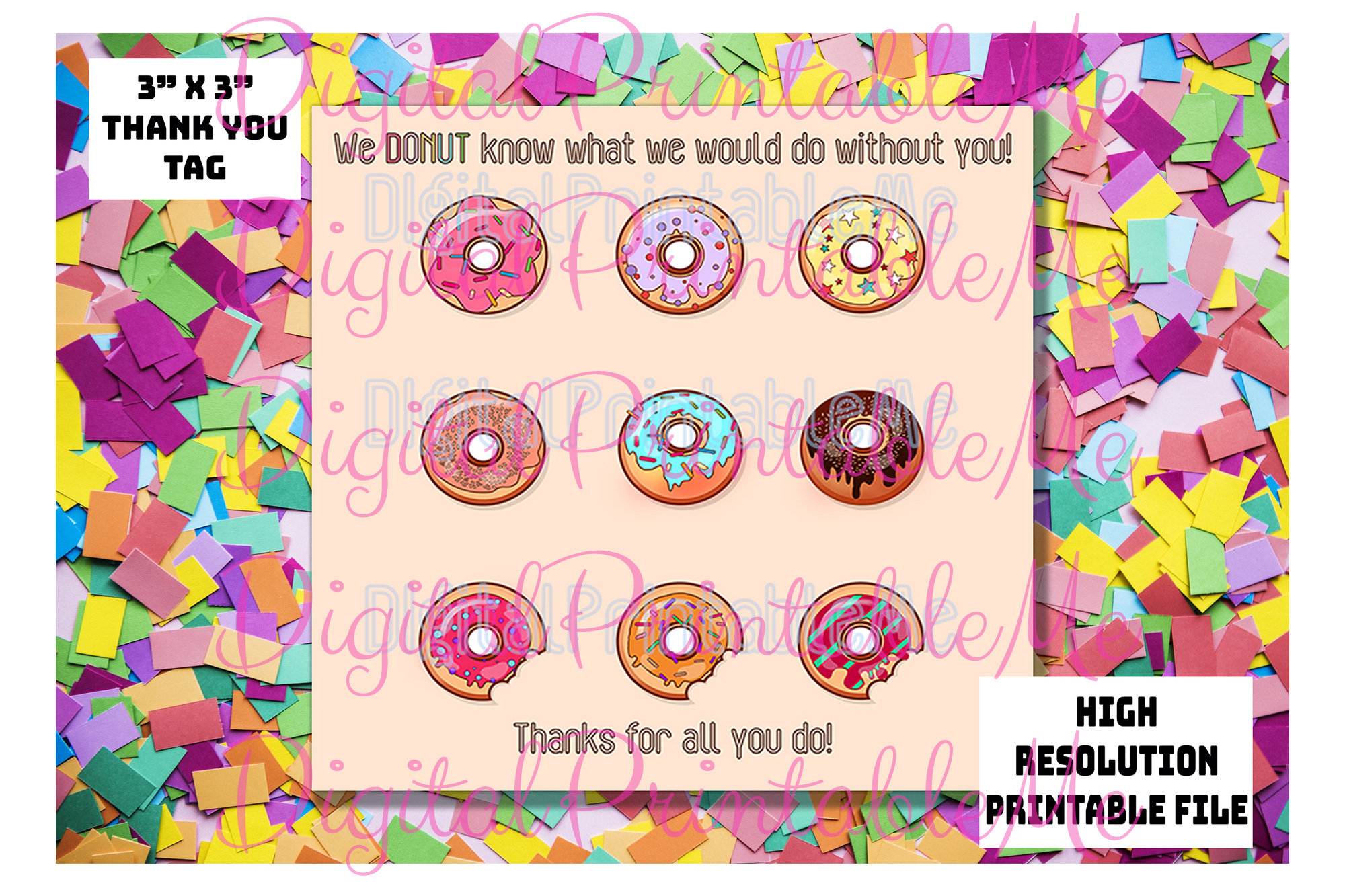 Download Free Donut Thank You Tags Teacher Gift Tags Graphic By SVG Cut Files