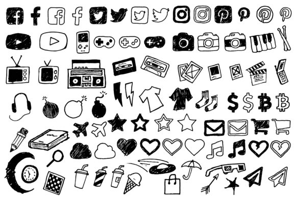 Print on Demand: Doodle Style Icon Pack Graphic Icons By Jmoroun
