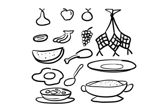 Doodle Style Traditional Food