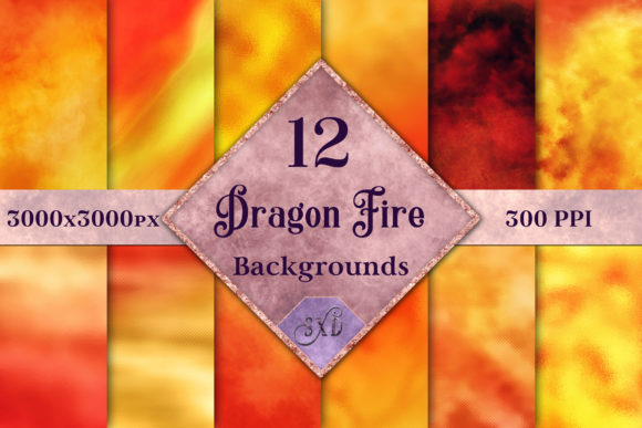 Print on Demand: Dragon Fire Backgrounds 12 Images Graphic Backgrounds By SapphireXDesigns