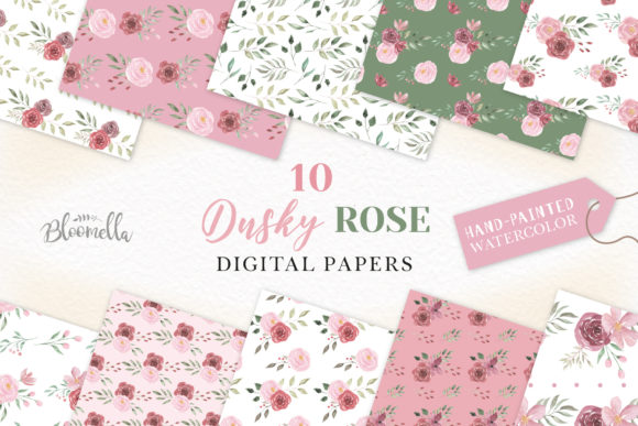 Dusky Pink Seamless Digital Papers Graphic Patterns By Bloomella