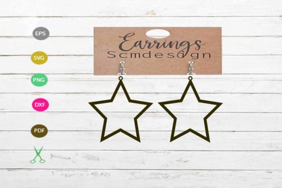 Earrings Template Star Graphic Crafts By Scmdesign