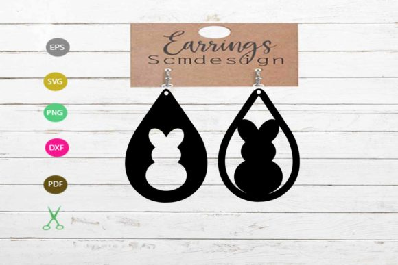 Earrings SVG,rabbit Svg, Earrings Cut Graphic Crafts By Scmdesign