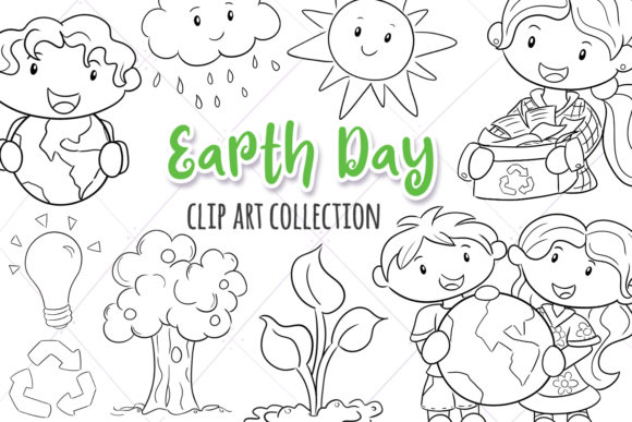 Print on Demand: Earth Day (Black and White) Grafik Illustrationen von Keepinitkawaiidesign