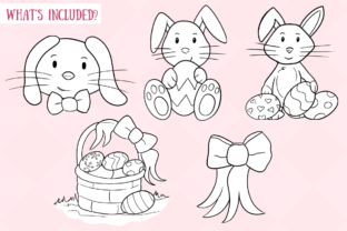 Print on Demand: Easter Bunnies (Black and White) Graphic Illustrations By Keepinitkawaiidesign 2