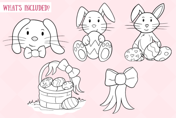 Download Free Easter Bunnies Black And White Graphic By Keepinitkawaiidesign for Cricut Explore, Silhouette and other cutting machines.