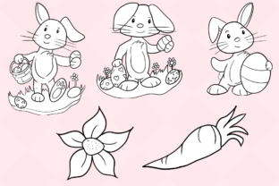 Print on Demand: Easter Bunnies (Black and White) Graphic Illustrations By Keepinitkawaiidesign 3