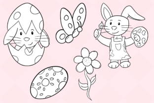 Print on Demand: Easter Bunnies (Black and White) Graphic Illustrations By Keepinitkawaiidesign 4