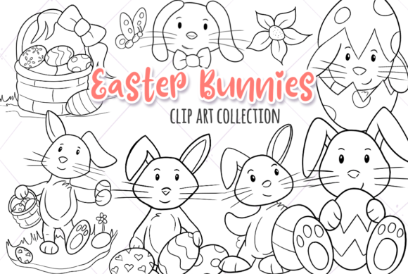 Print on Demand: Easter Bunnies (Black and White) Graphic Illustrations By Keepinitkawaiidesign