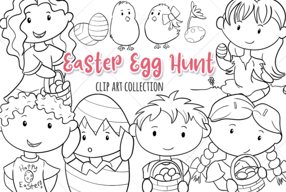 Print on Demand: Easter Egg Hunt (Black and White) Graphic Illustrations By Keepinitkawaiidesign