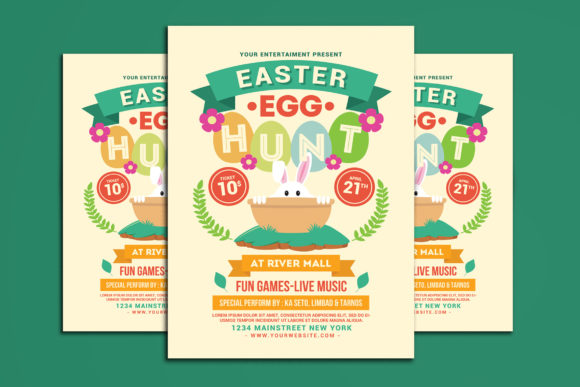 Easter Egg Hunt Flyer Graphic Print Templates By muhamadiqbalhidayat
