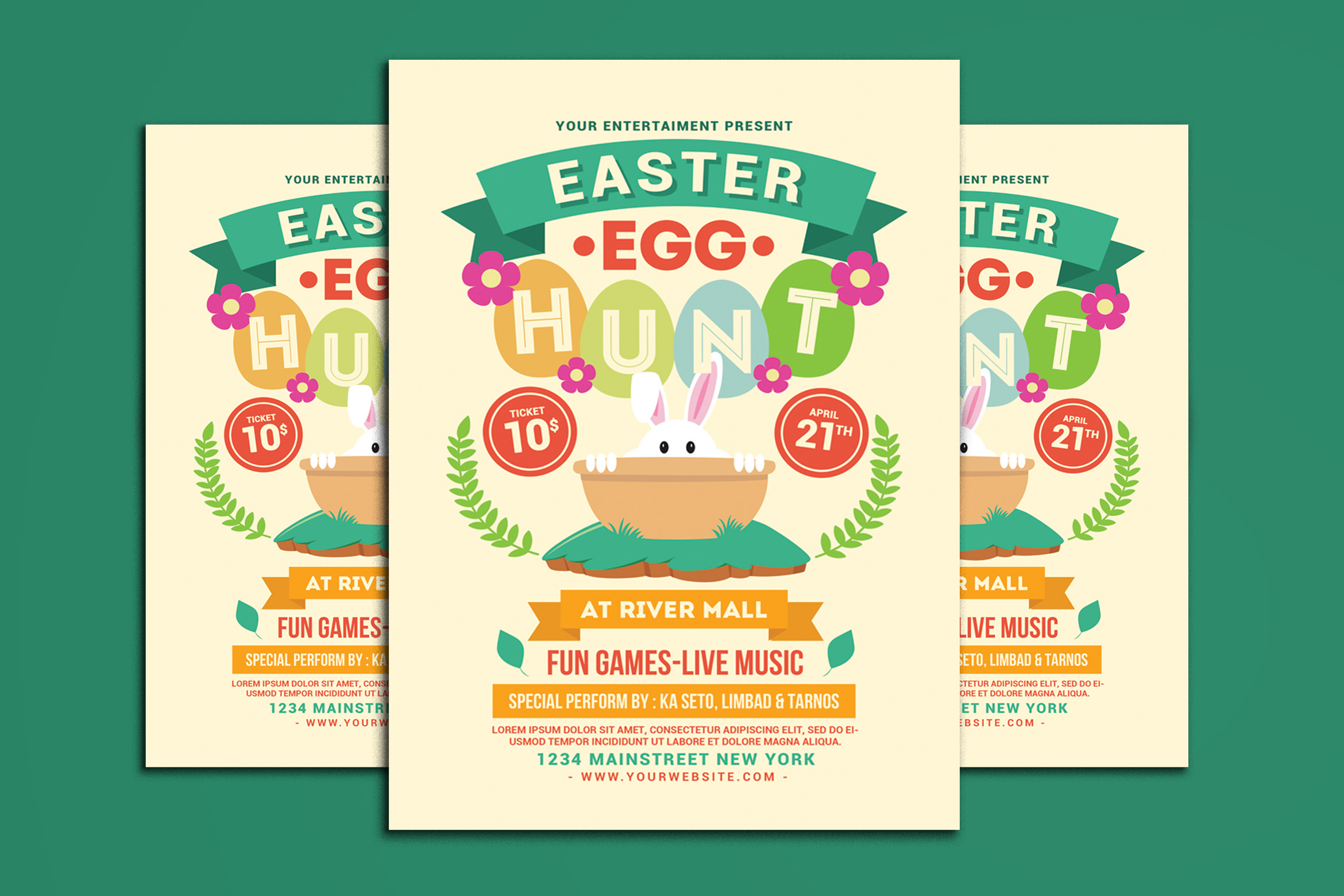Download Free Easter Egg Hunt Flyer Graphic By Muhamadiqbalhidayat Creative for Cricut Explore, Silhouette and other cutting machines.