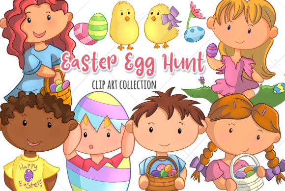 Print on Demand: Easter Egg Hunt Graphic Illustrations By Keepinitkawaiidesign