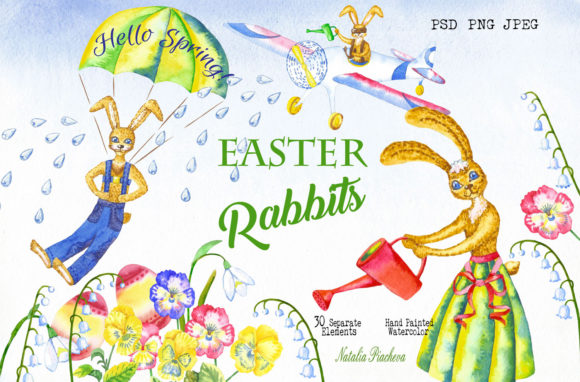 Print on Demand: Easter Rabbits Spring  Clipart Graphic Illustrations By natalia.piacheva