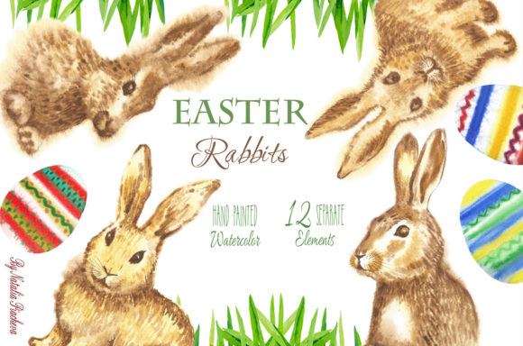 Print on Demand: Easter Rabbits Watercolor Clipart Graphic Illustrations By natalia.piacheva