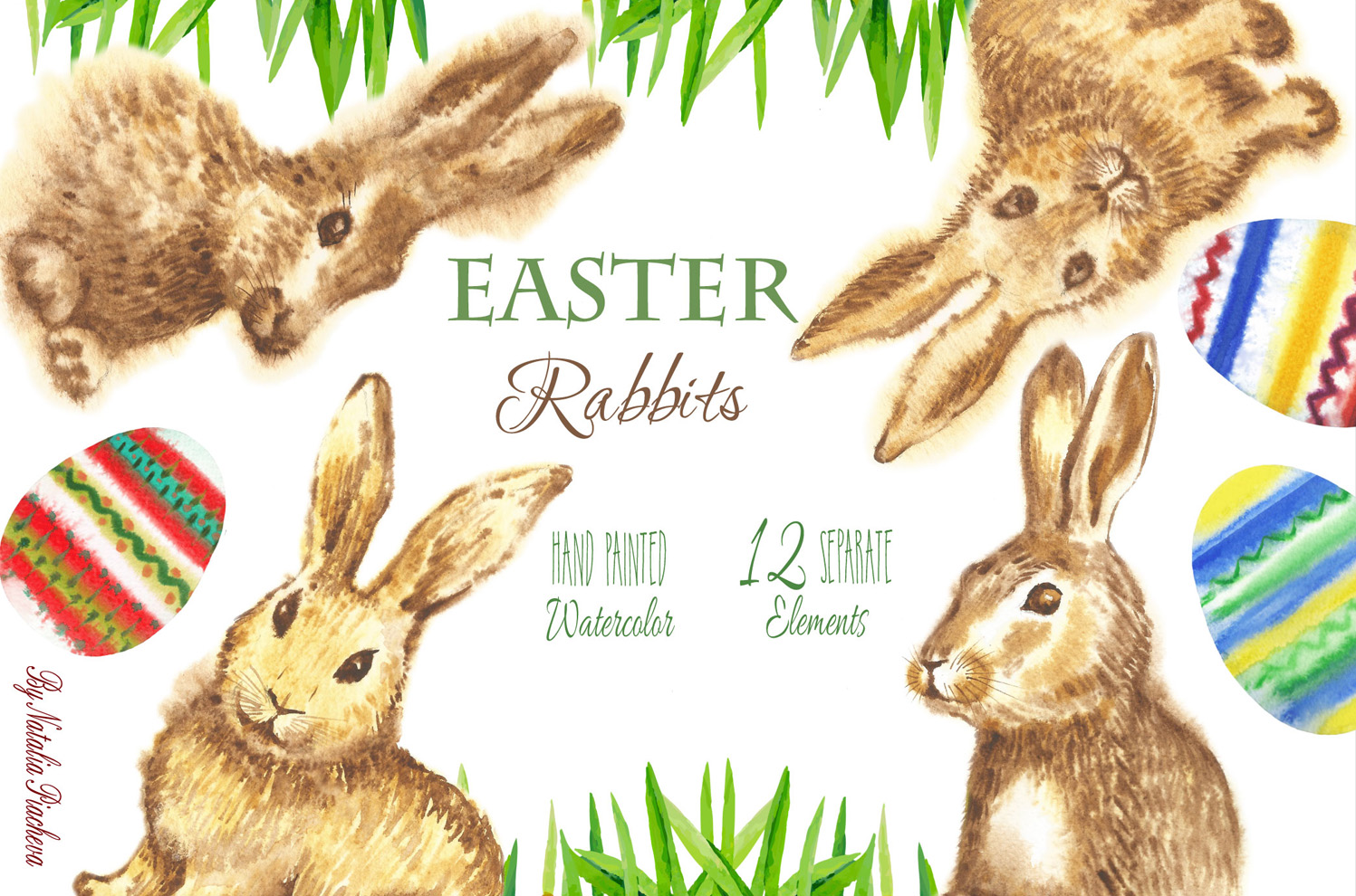 Download Free Easter Rabbits Watercolor Clipart Graphic By Natalia Piacheva for Cricut Explore, Silhouette and other cutting machines.