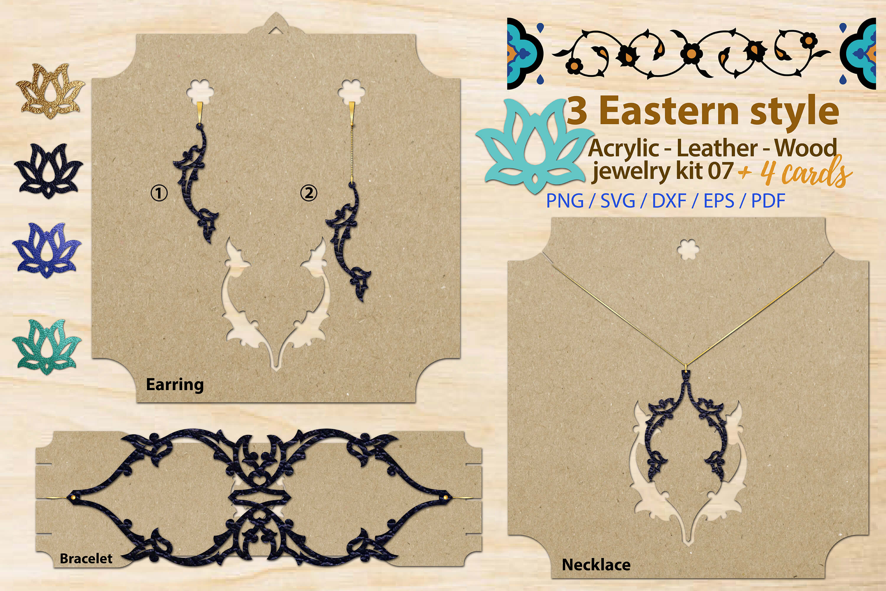 Download Free Eastern Style Acrylic Leather Wood Kit 7 Graphic By 3motional for Cricut Explore, Silhouette and other cutting machines.