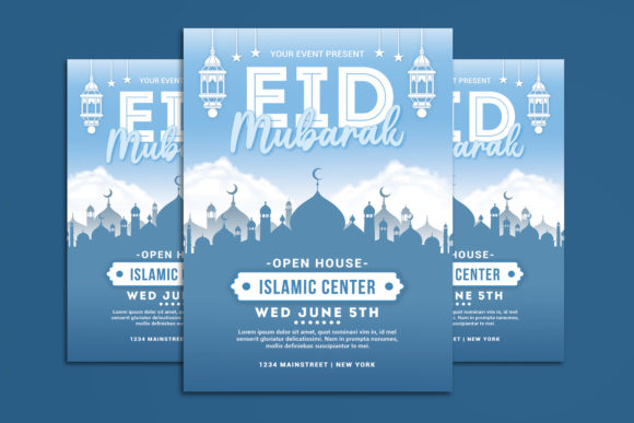 Download Free Eid Mubarak Flyer Graphic By Muhamadiqbalhidayat Creative Fabrica for Cricut Explore, Silhouette and other cutting machines.