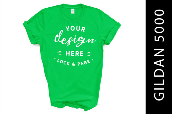 Electric Green Gildan 5000 TShirt Mockup Graphic Product Mockups By lockandpage