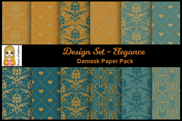 Elegance - Damask Paper Pack Graphic By Aisne