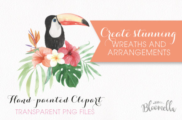 Elements Tropical Package Flamingo Tucan Graphic By Bloomella Image 2