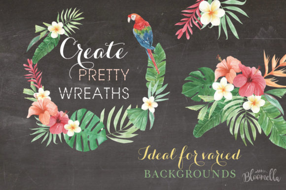 Elements Tropical Package Flamingo Tucan Graphic By Bloomella Image 3