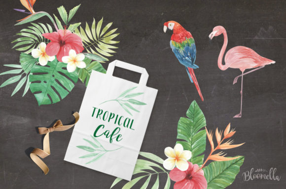 Elements Tropical Package Flamingo Tucan Graphic By Bloomella Image 6