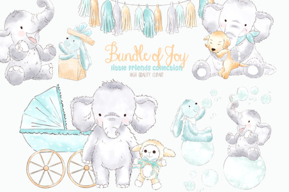 Elephant Baby Boy Watercolor Clipart Graphic Illustrations By kabankova