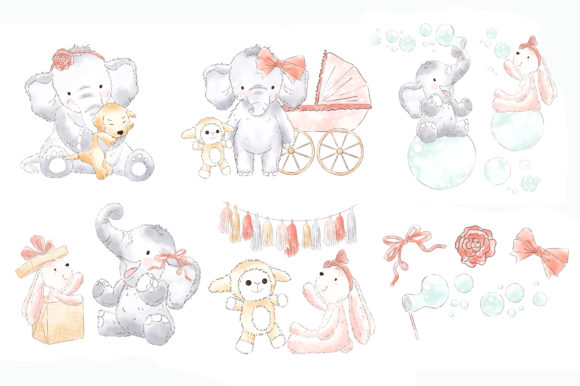 Elephant Baby Girl Watercolor Clipart Graphic Illustrations By kabankova - Image 2