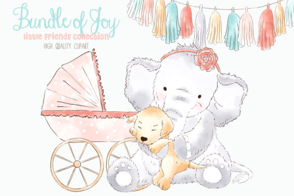 Elephant Baby Girl Watercolor Clipart Graphic Illustrations By kabankova - Image 3