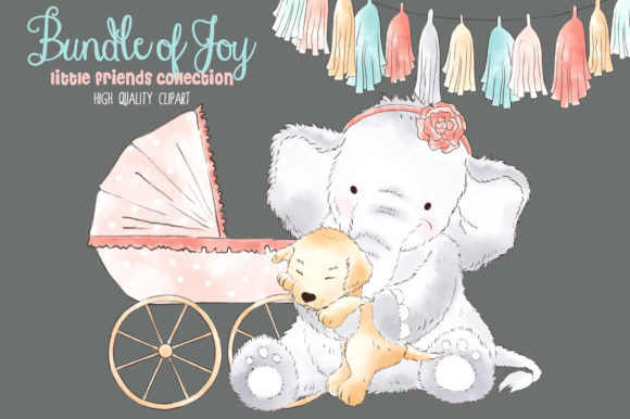 Elephant Baby Girl Watercolor Clipart Graphic Illustrations By kabankova - Image 4
