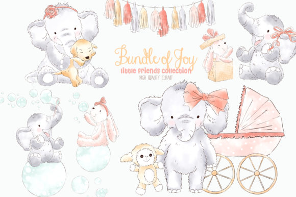 Elephant Baby Girl Watercolor Clipart Graphic Add-ons By kabankova