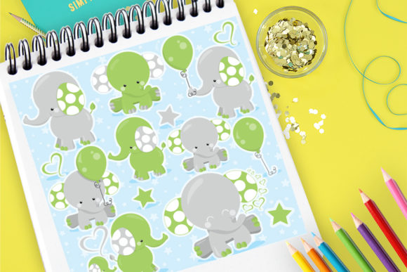 Print on Demand: Elephant Kids Green Graphic Illustrations By Prettygrafik