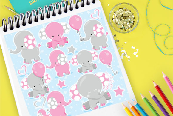 Print on Demand: Elephant Kids Pink Graphic Illustrations By Prettygrafik