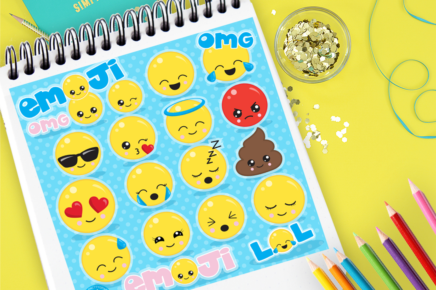 Download Free Emoji Set Graphic By Prettygrafik Creative Fabrica for Cricut Explore, Silhouette and other cutting machines.