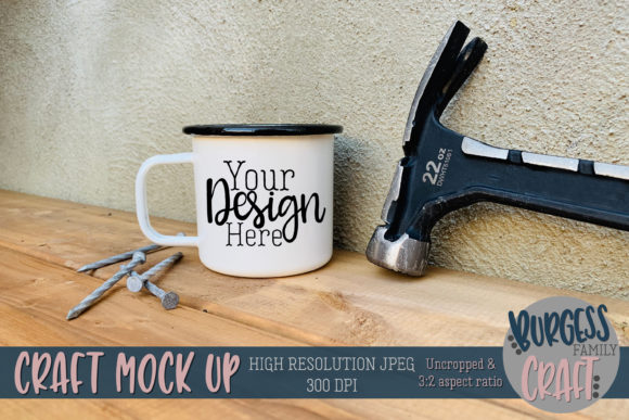 Enamel Mug Fathers Day Mock Up JPG Graphic Product Mockups By burgessfamilycraft