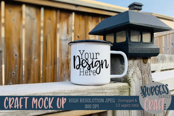 Enamel Mug on Fence Outdoor Mock Up JPG Graphic Product Mockups By burgessfamilycraft