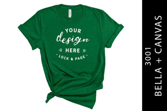 Evergreen Bella Canvas 3001 Knotted Tee Graphic Product Mockups By lockandpage