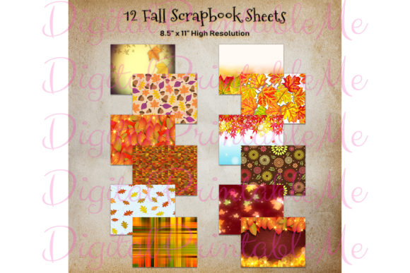 Print on Demand: Fall Autumn Backgrounds Leaves Plaid Gráfico Fondos Por DigitalPrintableMe