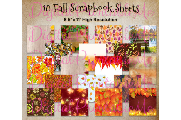 Download Free Fall Digital Paper Leaves Autumn 12 Graphic By for Cricut Explore, Silhouette and other cutting machines.