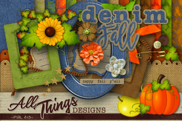 Print on Demand: Fall Digital Scrapbook Kit Graphic Crafts By All Things Designs