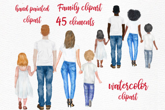 Family Clip Art Parents with Kids Graphic Illustrations By LeCoqDesign