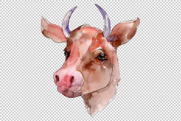 Download Free Farm Animals Cow Head Watercolor Png Graphic By Mystocks for Cricut Explore, Silhouette and other cutting machines.