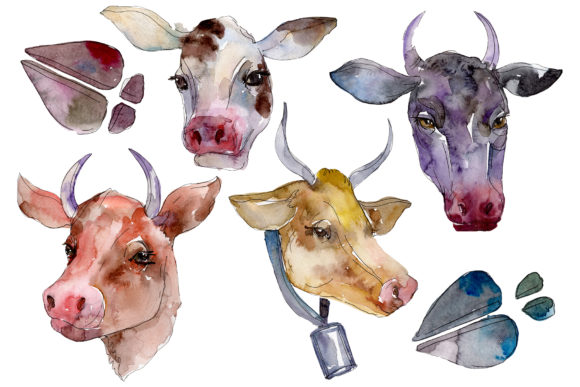 Print on Demand: Farm Animals: Cow Head Watercolor Png Graphic Illustrations By MyStocks