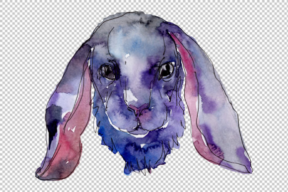 Download Free Farm Animals Rabbit Head Watercolor Png Graphic By Mystocks for Cricut Explore, Silhouette and other cutting machines.
