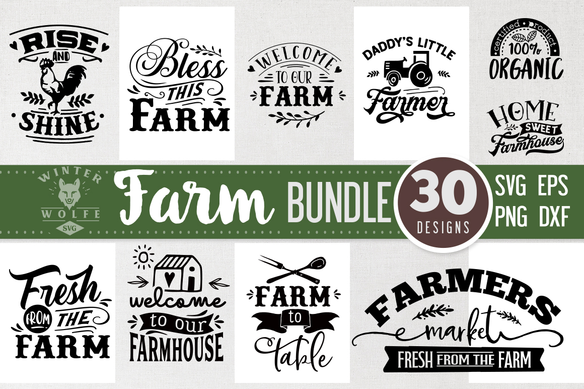 Download Free Farm Bundle 30 Designs Graphic By Winterwolfesvg Creative Fabrica for Cricut Explore, Silhouette and other cutting machines.